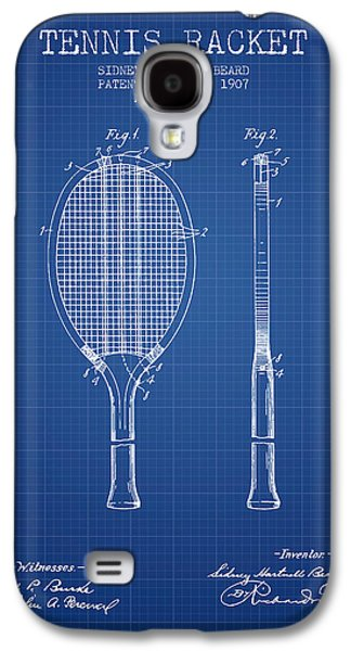 Tennis Player Galaxy S4 Cases - Tennis Racket Patent from 1907 - Blueprint Galaxy S4 Case by Aged Pixel