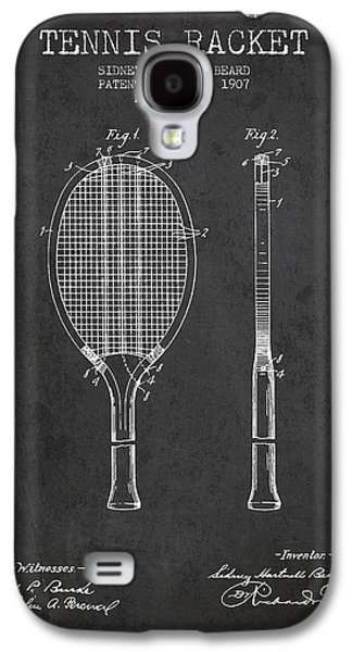 Tennis Player Galaxy S4 Cases - Tennis Racket Patent from 1907 - Charcoal Galaxy S4 Case by Aged Pixel