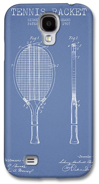 Tennis Player Galaxy S4 Cases - Tennis Racket Patent from 1907 - Light Blue Galaxy S4 Case by Aged Pixel