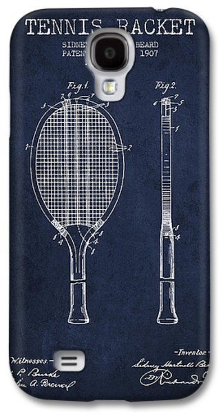 Tennis Player Galaxy S4 Cases - Tennis Racket Patent from 1907 - Navy Blue Galaxy S4 Case by Aged Pixel