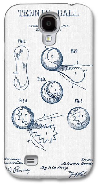 Tennis Galaxy S4 Cases - Tennnis Ball Patent Drawing from 1914  -  Blue Ink Galaxy S4 Case by Aged Pixel