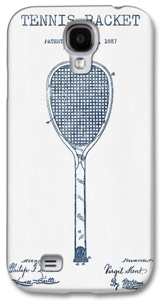 Tennis Galaxy S4 Cases - Tennnis Racket Patent Drawing from 1887 -  Blue Ink Galaxy S4 Case by Aged Pixel