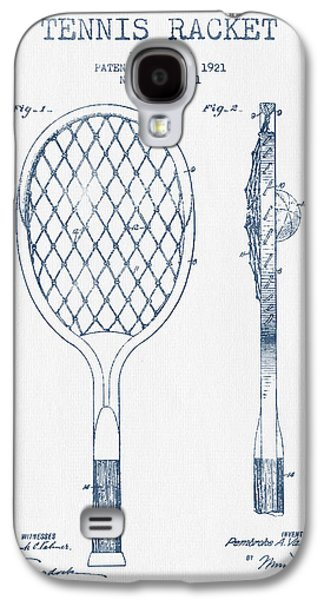 Tennis Galaxy S4 Cases - Tennnis Racketl Patent Drawing from 1921 -  Blue Ink Galaxy S4 Case by Aged Pixel