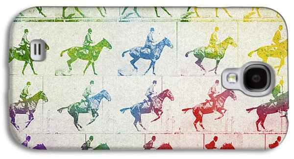 Horse Racing Galaxy S4 Cases - Terrestrial locomotion Galaxy S4 Case by Aged Pixel