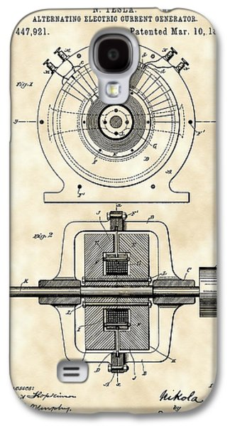 Electrical Galaxy S4 Cases - Tesla Alternating Electric Current Generator Patent 1891 - Vintage Galaxy S4 Case by Stephen Younts
