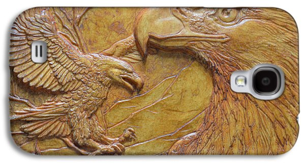 Bas Relief Reliefs Galaxy S4 Cases - Teton Pair Galaxy S4 Case by Jeremiah Welsh