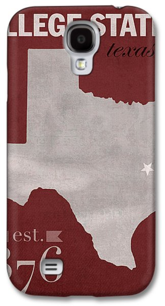 Universities Mixed Media Galaxy S4 Cases - Texas A and M University Aggies College Station College Town State Map Poster Series No 106 Galaxy S4 Case by Design Turnpike
