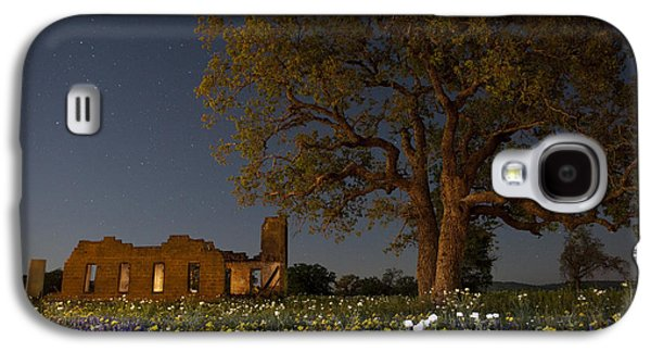 Moonlit Night Photographs Galaxy S4 Cases - Texas Blue Bonnets at Night Galaxy S4 Case by Keith Kapple