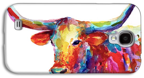 Farming Paintings Galaxy S4 Cases - Texas Longhorn art Galaxy S4 Case by Svetlana Novikova
