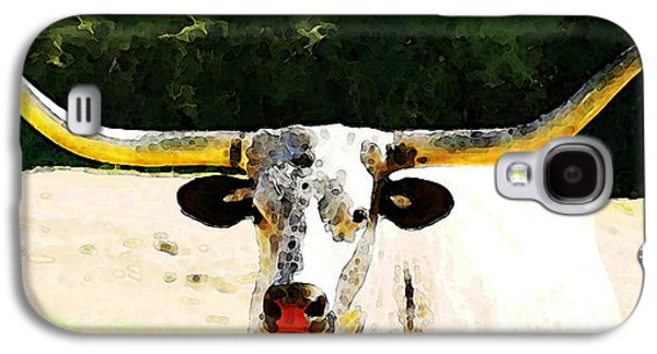Bull Digital Art Galaxy S4 Cases - Texas Longhorn - Bull Cow Galaxy S4 Case by Sharon Cummings