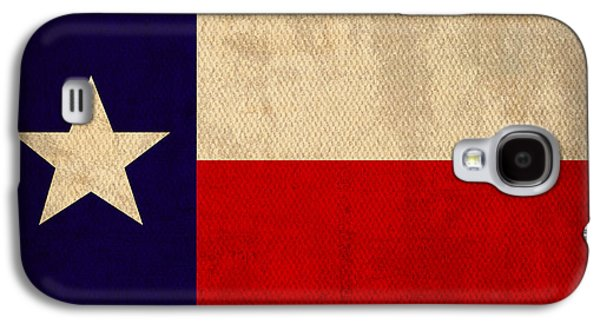 States Mixed Media Galaxy S4 Cases - Texas State Flag Lone Star State Art on Worn Canvas Galaxy S4 Case by Design Turnpike