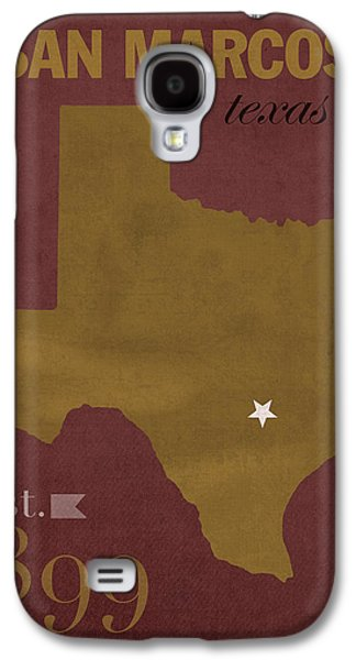 Bobcats Galaxy S4 Cases - Texas State University Bobcats San Marcos College Town State Map Poster Series No 108 Galaxy S4 Case by Design Turnpike