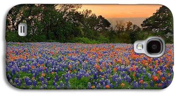 Floral Art Galaxy S4 Cases - Texas Sunset - Bluebonnet Landscape Wildflowers Galaxy S4 Case by Jon Holiday