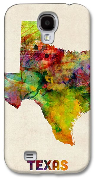 Cartography Digital Art Galaxy S4 Cases - Texas Watercolor Map Galaxy S4 Case by Michael Tompsett