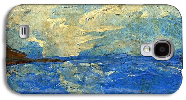 Carter House Galaxy S4 Cases - Textured Beach Scene Painting Fine Art Print Galaxy S4 Case by Laura  Carter