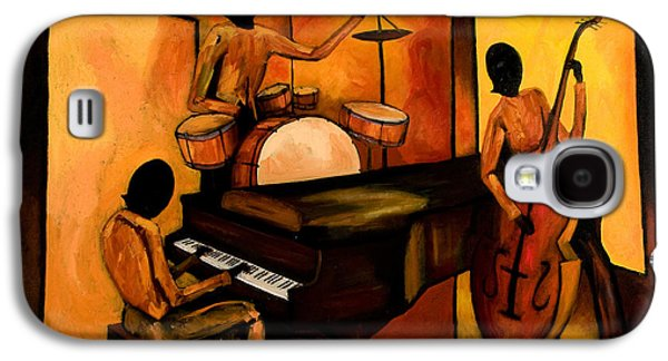 Street Paintings Galaxy S4 Cases - The 1st Jazz Trio Galaxy S4 Case by Larry Martin