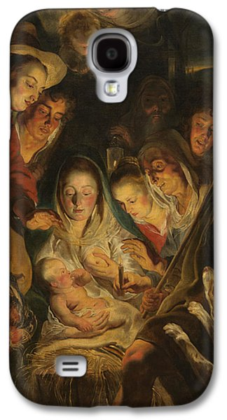 Adoration Of The Shepherds; Shepherd; Infant Jesus Christ; Baby; Child; Joseph; Virgin Mary; Madonna; Holy Family; Stable; Manger; Ox; Oxen; Straw Galaxy S4 Cases - The Adoration of the Shepherds Galaxy S4 Case by Anonymous