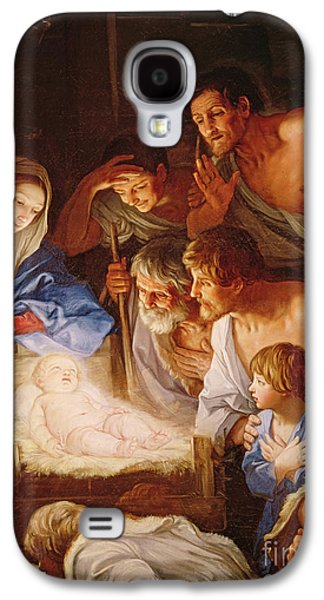 Adoration Of The Shepherds; Shepherd; Infant Jesus Christ; Baby; Child; Joseph; Virgin Mary; Madonna; Holy Family; Stable; Manger; Ox; Oxen; Straw Galaxy S4 Cases - The Adoration of the Shepherds Galaxy S4 Case by Guido Reni