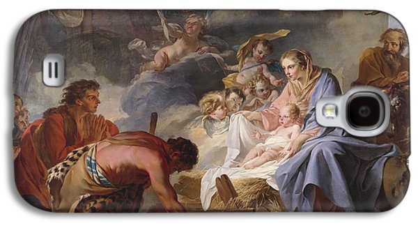 Adoration Of The Shepherds; Shepherd; Infant Jesus Christ; Baby; Child; Joseph; Virgin Mary; Madonna; Holy Family; Stable; Manger; Ox; Oxen; Straw Galaxy S4 Cases - The Adoration of the Shepherds Galaxy S4 Case by Jean Baptiste Marie Pierre