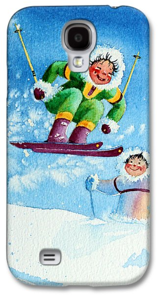 Kids Sports Art Galaxy S4 Cases - The Aerial Skier - 10 Galaxy S4 Case by Hanne Lore Koehler