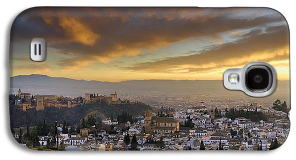 Fantasy Photographs Galaxy S4 Cases - The Alhambra Granada and Albaicin at sunset Galaxy S4 Case by Guido Montanes Castillo