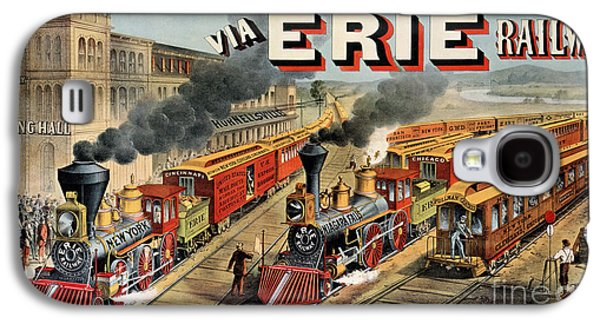 Past Paintings Galaxy S4 Cases - The American Railway Scene  Galaxy S4 Case by Currier and Ives