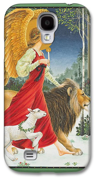 Snow Paintings Galaxy S4 Cases - The Angel The Lion and The Lamb Galaxy S4 Case by Lynn Bywaters