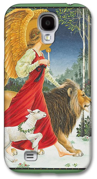 Angels Galaxy S4 Cases - The Angel The Lion and The Lamb Galaxy S4 Case by Lynn Bywaters