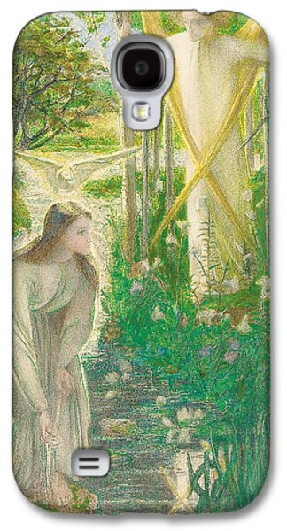 Angels Drawings Galaxy S4 Cases - The Annunciation, 1855 Galaxy S4 Case by Dante Gabriel Charles Rossetti