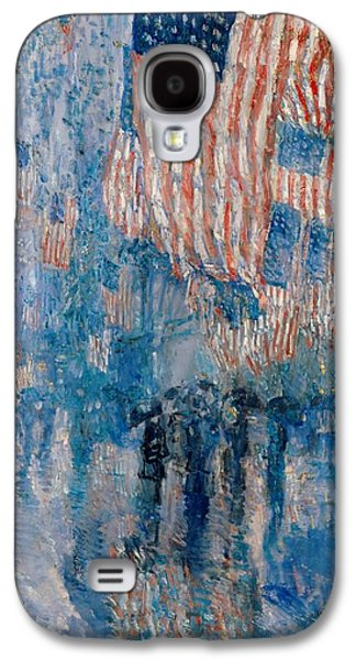 Stars And Stripes Paintings Galaxy S4 Cases - The Avenue in the Rain Galaxy S4 Case by Nomad Art And  Design