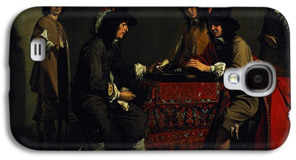 Game Photographs Galaxy S4 Cases - The Backgammon Players Oil On Canvas Galaxy S4 Case by Antoine and Louis Le Nain