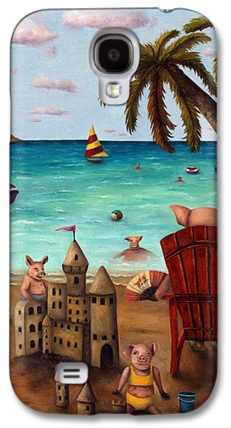 Sand Castles Paintings Galaxy S4 Cases - The Bacon Shortage brighter Galaxy S4 Case by Leah Saulnier The Painting Maniac