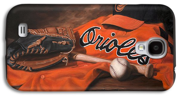 Baseball Glove Paintings Galaxy S4 Cases - The Baltimore Orioles Galaxy S4 Case by Michael Malta