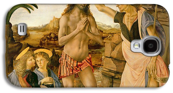 Blessings Paintings Galaxy S4 Cases - The Baptism of Christ by John the Baptist Galaxy S4 Case by Leonardo da Vinci