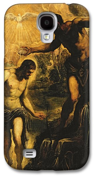 River Jordan Paintings Galaxy S4 Cases - The Baptism of Christ Galaxy S4 Case by Jacopo Robusti Tintoretto