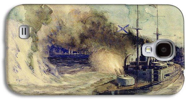 Wwi Paintings Galaxy S4 Cases - The battle between the Black Sea Fleet and the armoured cruiser Goeben Galaxy S4 Case by Mikhail Mikhailovich Semyonov