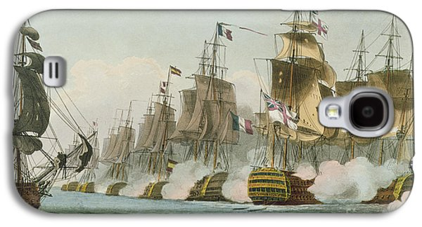 Boats In Water Paintings Galaxy S4 Cases - The Battle of Trafalgar Galaxy S4 Case by Thomas Whitcombe