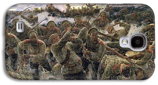 Bayonet Galaxy S4 Cases - The Bayonet Fighting, 1904 Oil On Canvas Galaxy S4 Case by Pyotr Pavlovich Karyagin