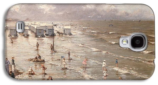 On The Beach Galaxy S4 Cases - The Beach at Ostend Galaxy S4 Case by Adolphe Jacobs