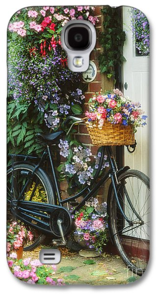 Basket Galaxy S4 Cases - The Bicycle at Lavender Cottage Galaxy S4 Case by MGL Meiklejohn Graphics Licensing