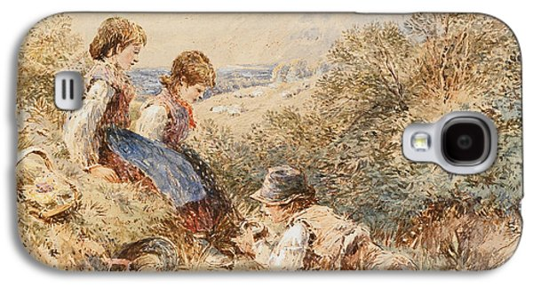 Innocence Paintings Galaxy S4 Cases - The Birds Nest Galaxy S4 Case by Myles Birket Foster