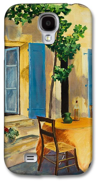 Wine Canvas Paintings Galaxy S4 Cases - The Blue Shutters Galaxy S4 Case by Elise Palmigiani