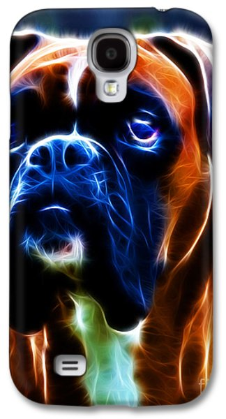 Boxer Dog Digital Galaxy S4 Cases - The Boxer - Electric Galaxy S4 Case by Wingsdomain Art and Photography