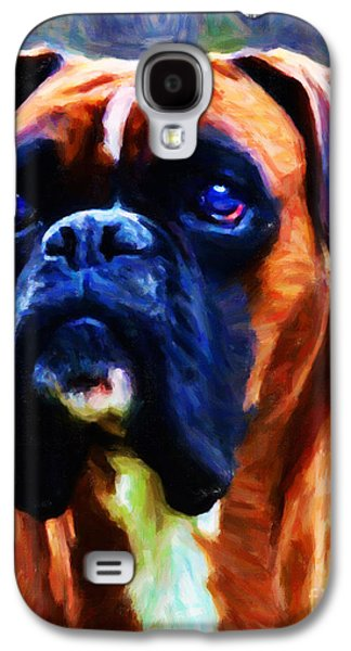 Boxer Dog Digital Galaxy S4 Cases - The Boxer - Painterly Galaxy S4 Case by Wingsdomain Art and Photography