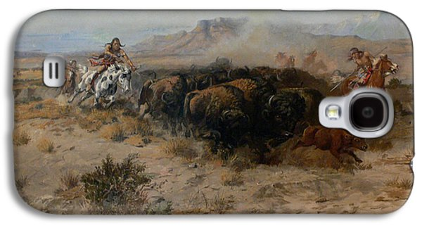 Charles Digital Art Galaxy S4 Cases - The Buffalo Hunt Galaxy S4 Case by Charles Russell