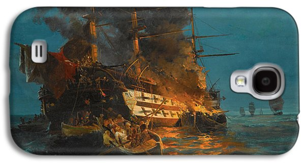 Frigates Paintings Galaxy S4 Cases - The burning of a Turkish frigate Galaxy S4 Case by Konstantinos Volanakis