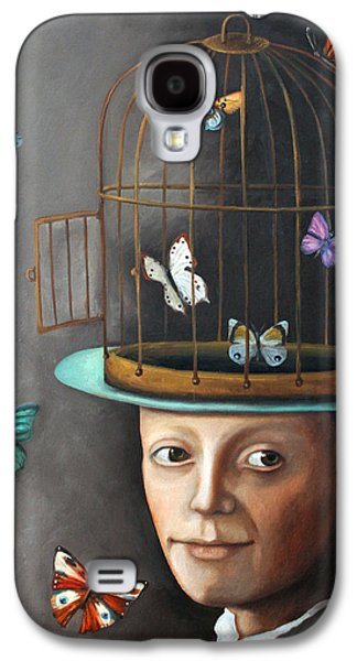 Cage Paintings Galaxy S4 Cases - The Butterfly Keeper 1 Galaxy S4 Case by Leah Saulnier The Painting Maniac