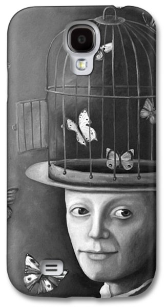 Cage Paintings Galaxy S4 Cases - The Butterfly Keeper BW Galaxy S4 Case by Leah Saulnier The Painting Maniac