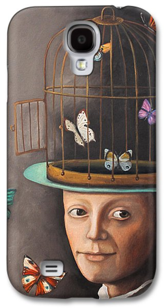 Cage Paintings Galaxy S4 Cases - The Butterfly Keeper edit 2 Galaxy S4 Case by Leah Saulnier The Painting Maniac