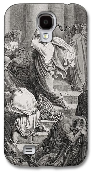 Religious Drawings Galaxy S4 Cases - The Buyers and Sellers Driven Out of the Temple Galaxy S4 Case by Gustave Dore